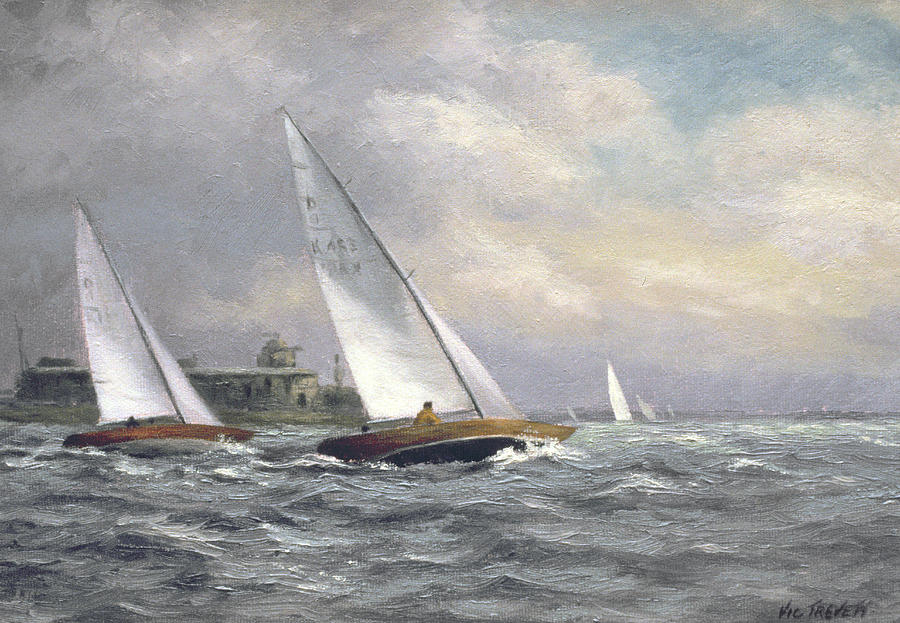 Yacht; Sailing; Dragon Class; Garrison Point Fort; Kent; Built 1860's; Medway Painting -  Dragons At Garrison Point by Vic Trevett