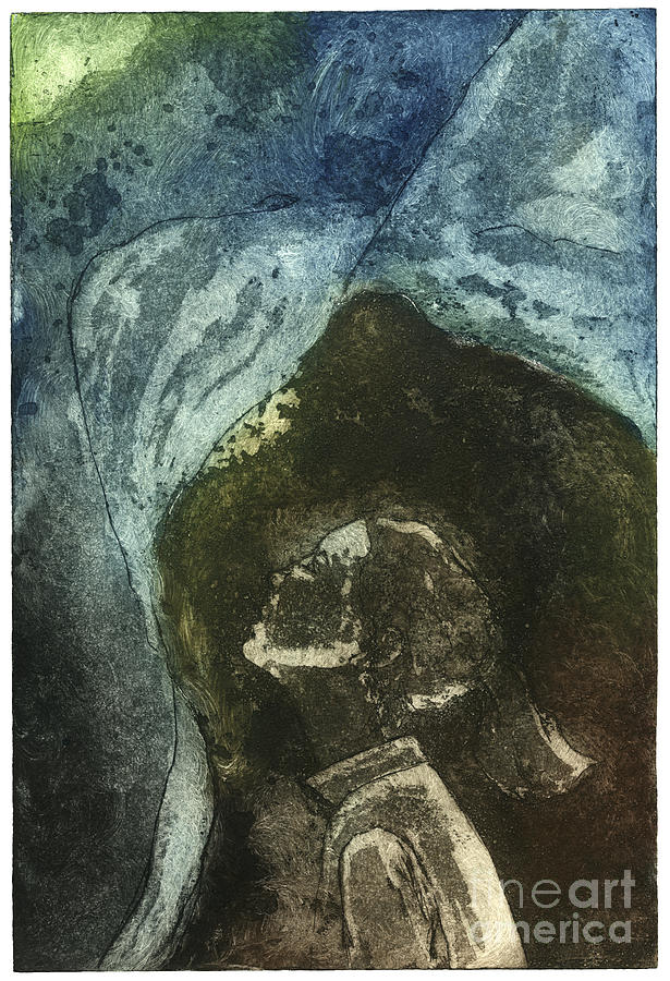 Dreamtime - Daydream - Dream - Reverie - Girl - Profile - Etching - Fine Art Print - Stock Image Painting
