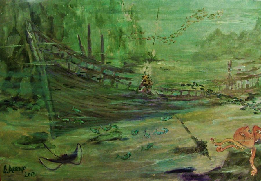 Deep Sea Diver Painting -  El  Explorador  1 by Beth Arroyo