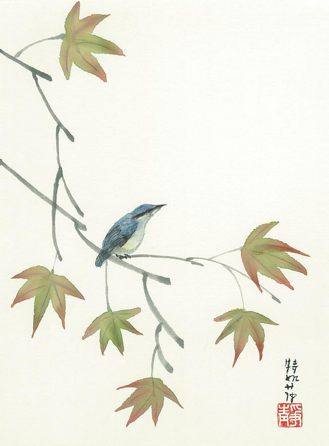 Japanese Painting -  Eurasian Nutchatch by Terri Harris