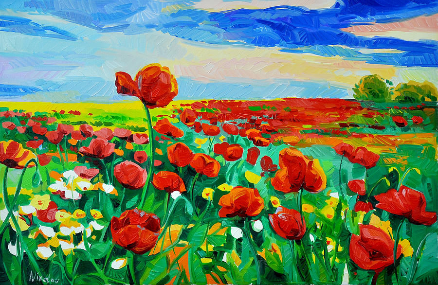 Fields Of Flowers Painting By Ivailo Nikolov