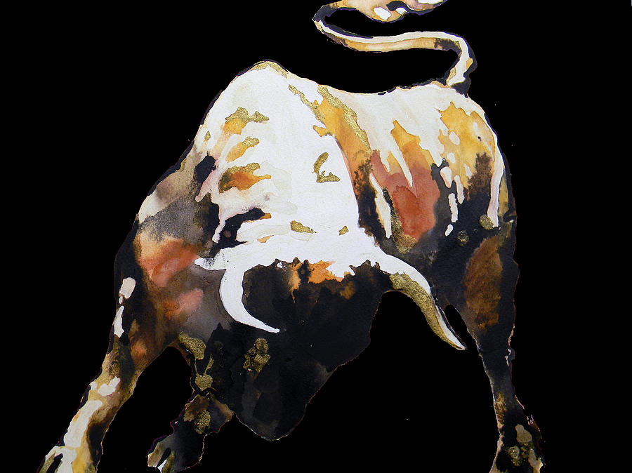 Fight Bull In Black Painting By J J Espinoza