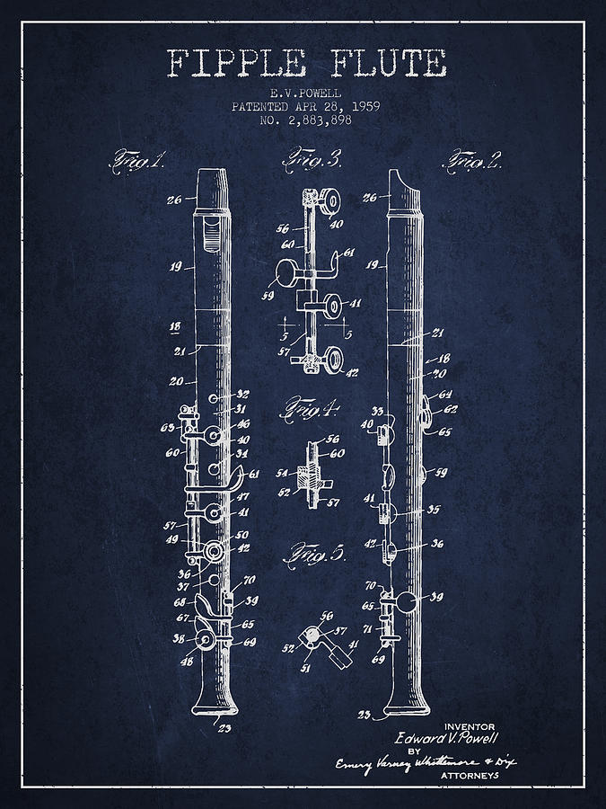 Fipple Flute Patent Drawing From 1959 - Navy Blue Digital Art