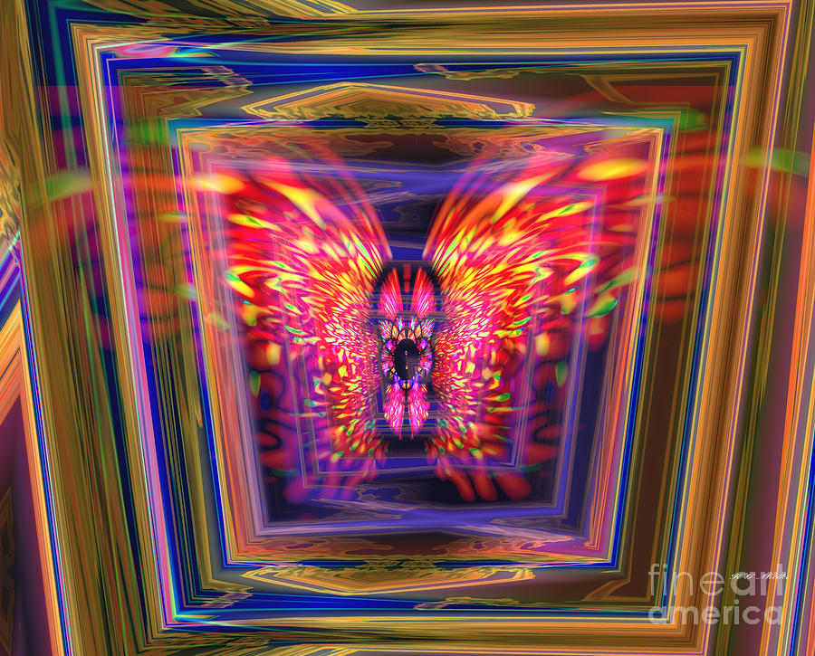 Flowers Digital Art -  Flaming Butterfly Mixed Media Painting by Heinz G Mielke