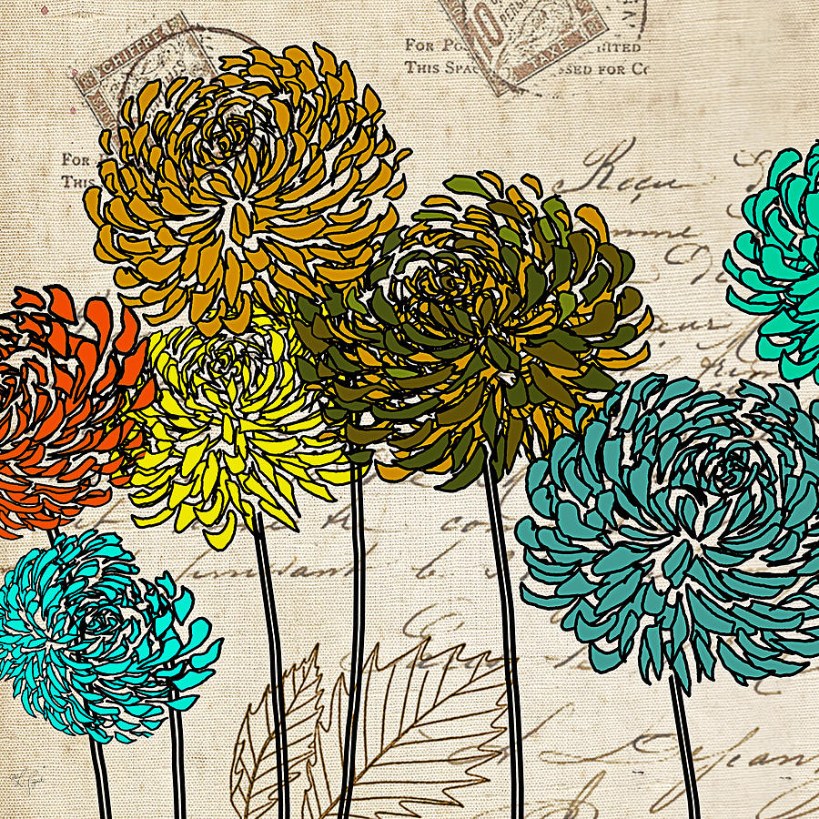 Turquoise Flower Painting -  Floral Delight I by Lourry Legarde