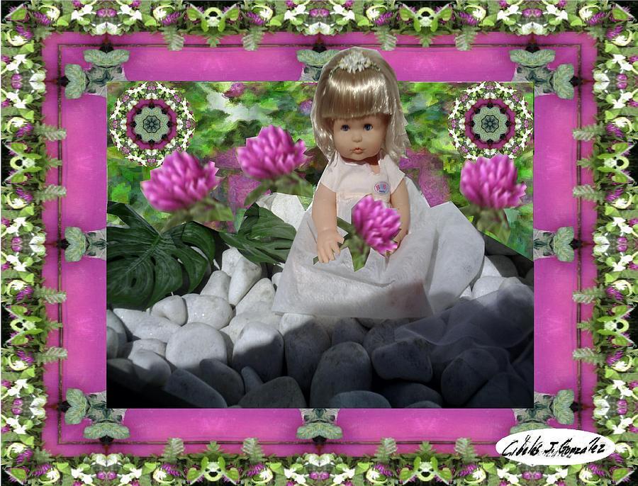 Design Mixed Media -  Flower Girl Upon Rocks by Cibeles Gonzalez