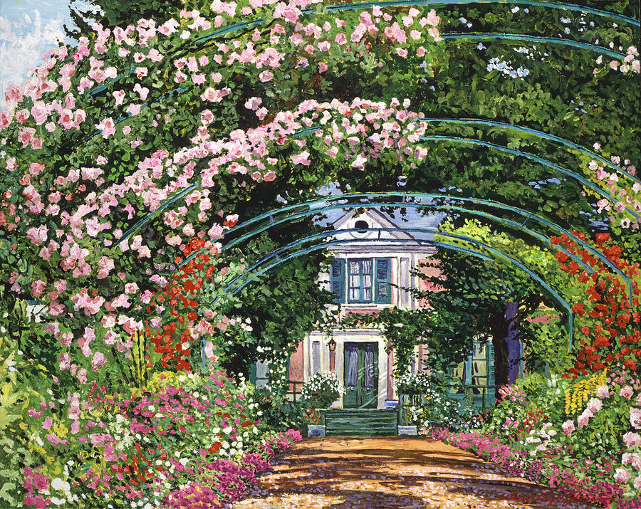 Gardenscapes Painting -  Flowering Arbor Giverny by David Lloyd Glover