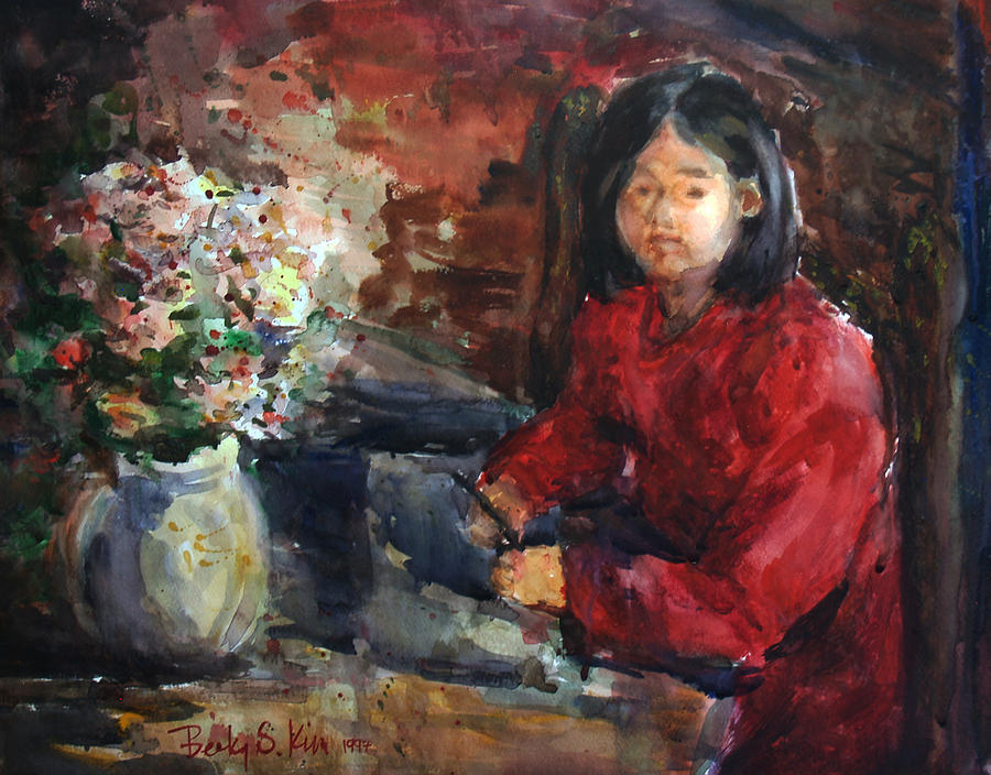 Portrait Painting -  Girl In Red Dress by Becky Kim
