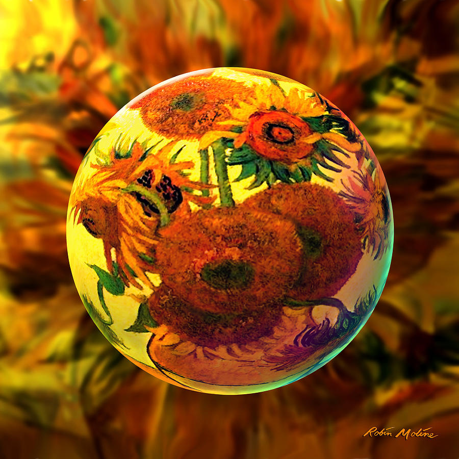 Sunflowers Digital Art -   Van Globing Inflorescence by Robin Moline