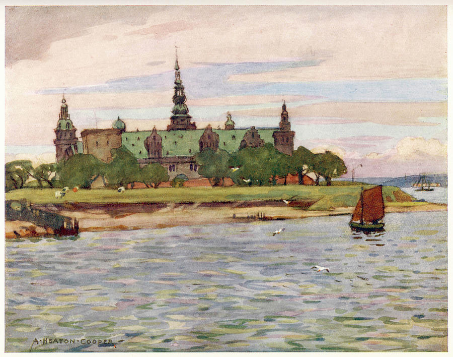 Denmark Drawing -  Helsingor  Kronborg Castle        Date by Mary Evans Picture Library