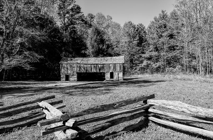 Historical Photograph -  Historical Cantilever Barn At Cades Cove Tennessee In Black And White by Kathy Clark