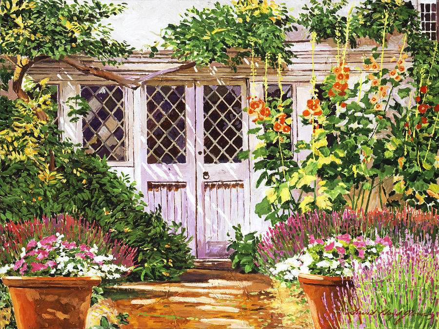 Gardenscape Painting -  Hollyhock Gardens by David Lloyd Glover