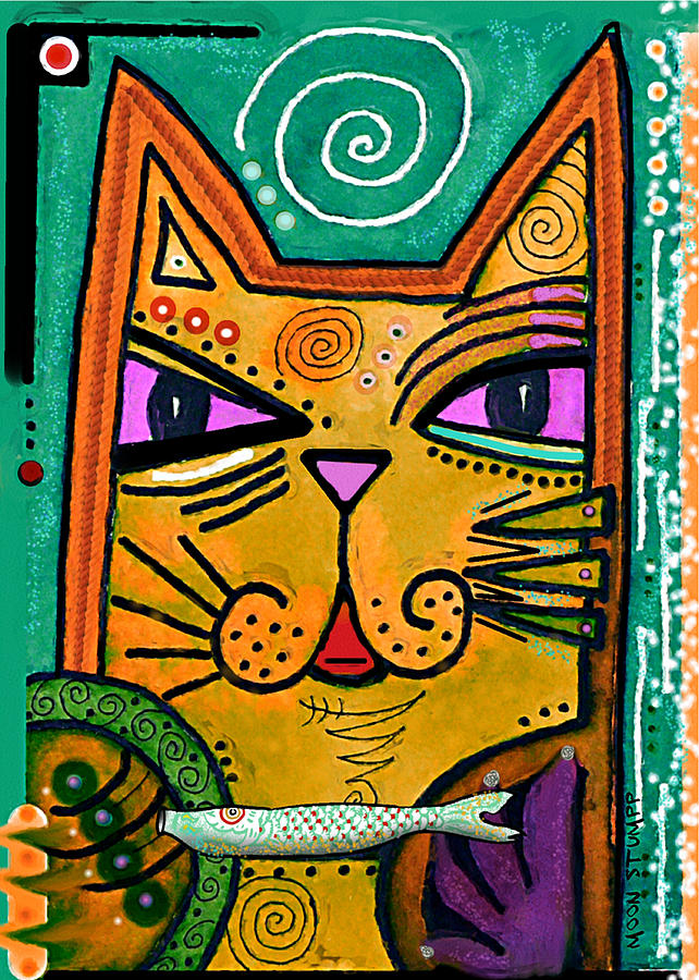 Cat Painting -  House Of Cats Series - Fish by Moon Stumpp
