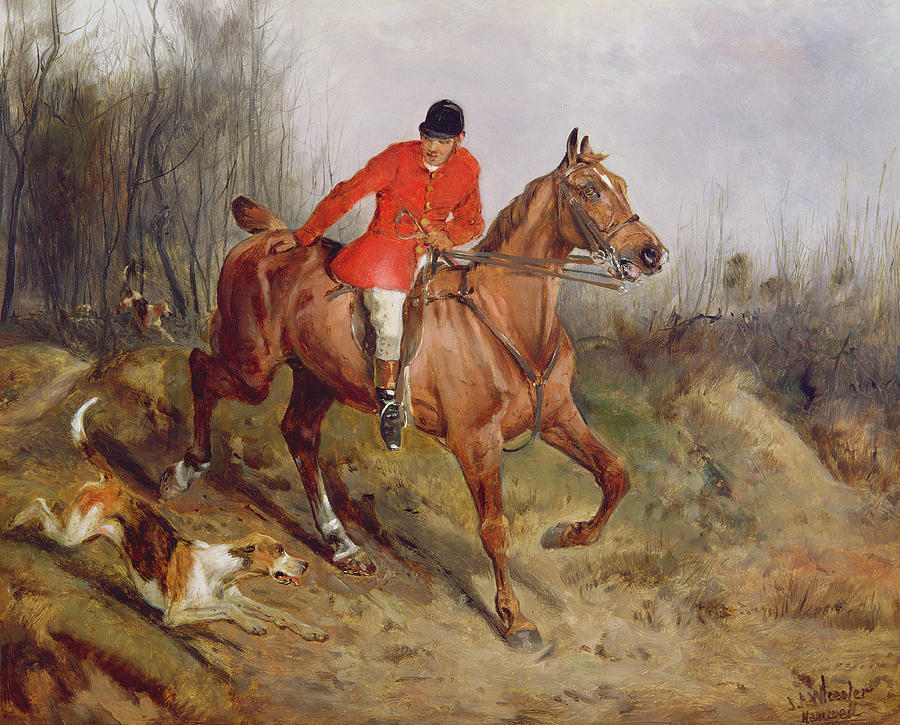 Grb; Hunt; Dog; Horse; Rider Painting -  Hunting Scene by John Alfred  Wheeler