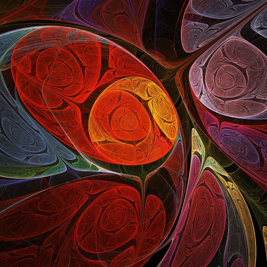 Interior Digital Art -  Hypnotic Flower by Anastasiya Malakhova