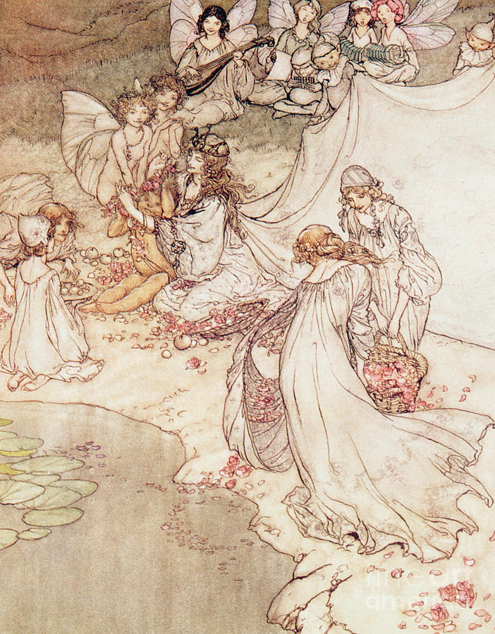 Fairies; Magical; Flowers; Garlands; Music; Lyle; Wings; Frail; Fragile; Delicate; Beautiful Drawing -  Illustration For A Fairy Tale Fairy Queen Covering A Child With Blossom by Arthur Rackham