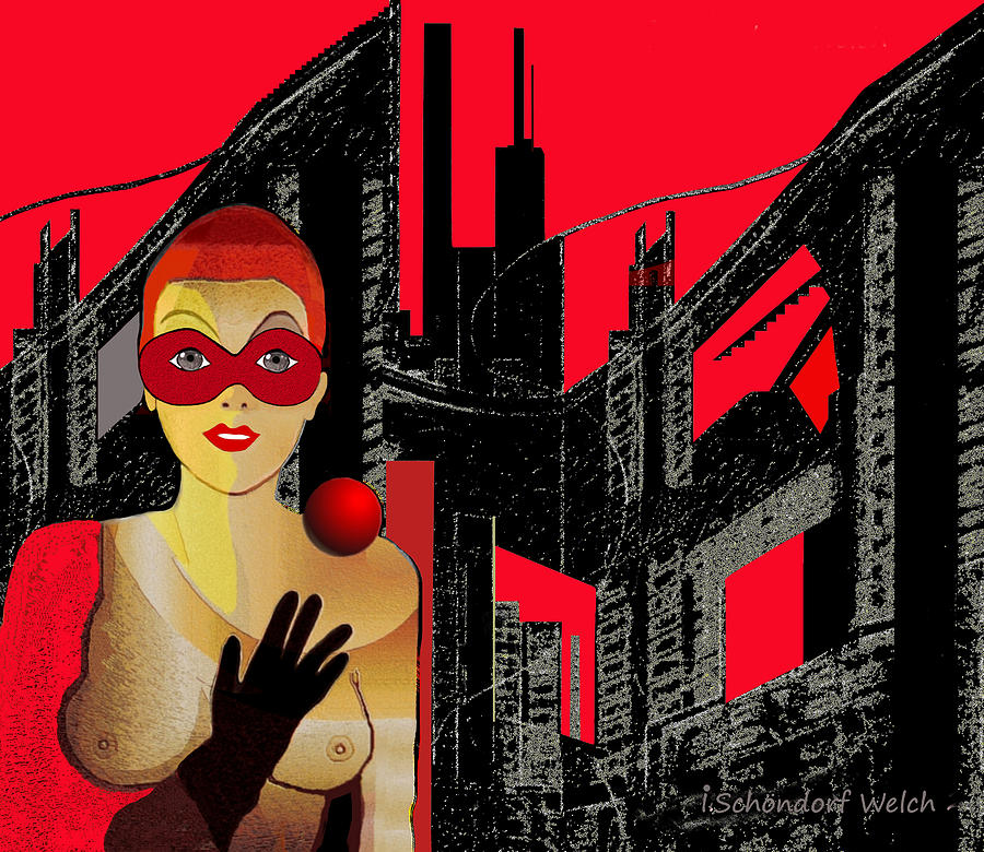 Woman Painting -   014 - In  Red   City Darkness by Irmgard Schoendorf Welch