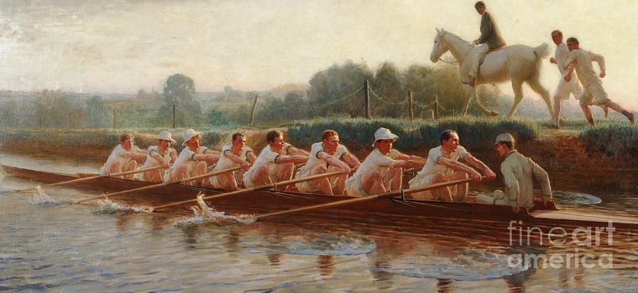 Male; Sportsmen; Sport; Practicing; Cox; Coxswain; Horse; Horseback; Runners; Running; Physical Exercise; River; Riverbank; Outdoors; Team; Rowers; Rowing; Boat; Eights; Athletes; Training; Crew; Crewing; Alongside Painting -  In The Golden Days by Hugh Goldwin Riviere
