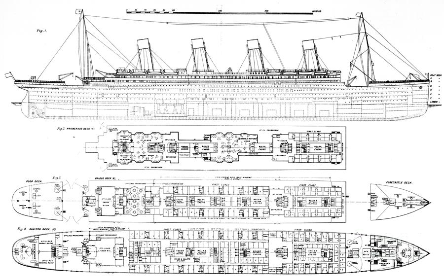 Longitudinal Section And Plan; Bulkhead; Exit; Diagram; Ocean Liner; Boat; Luxury; Tragic Drawing -  Inquiry Into The Loss Of The Titanic Cross Sections Of The Ship  by English School