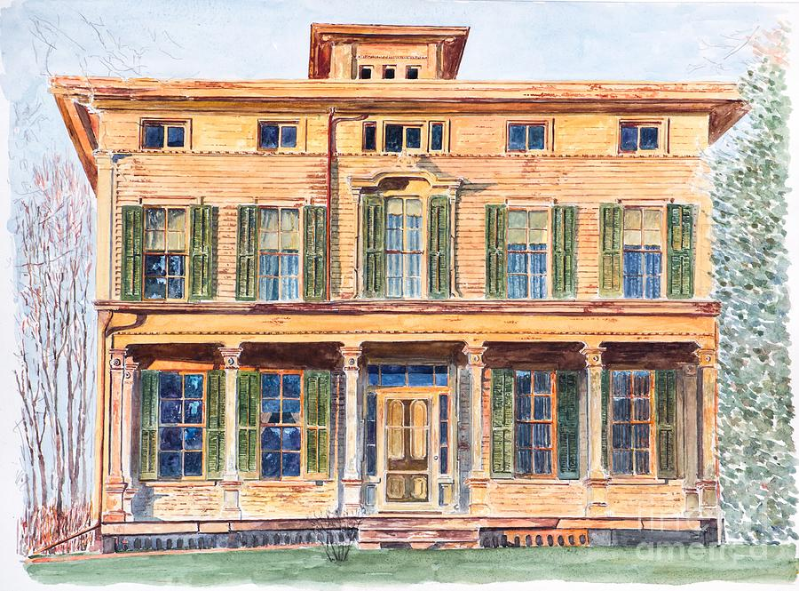 Yellow House Painting -  Italianate House Ny by Anthony Butera