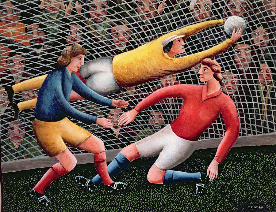 Keeper Painting -  Its A Great Save by Jerzy Marek