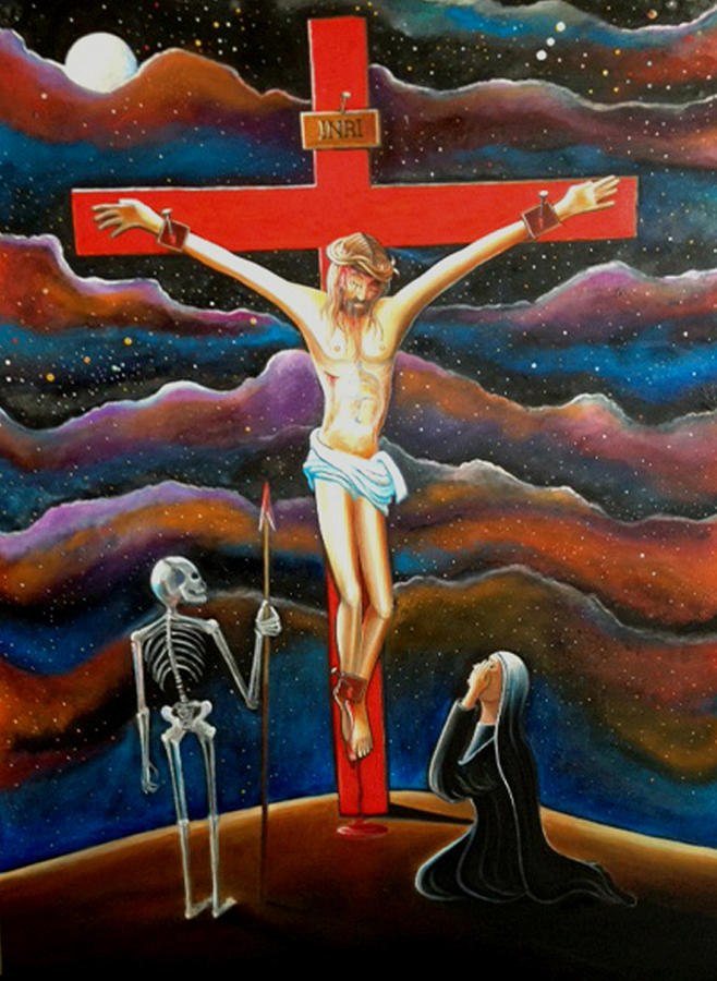 Jesus On The Cross Painting by Daniel DeNapoli Jesus On The Cross Painting