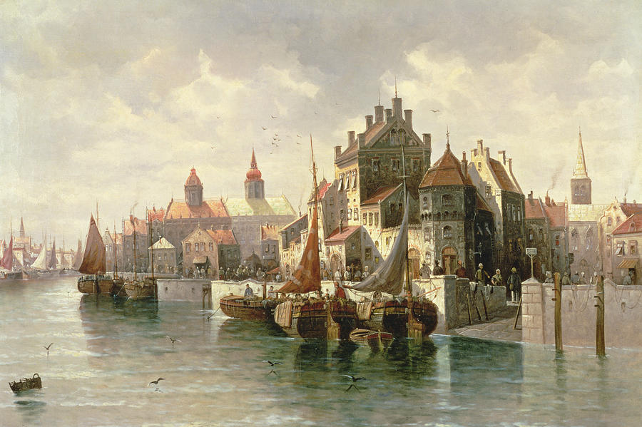 Barges Painting -  Kieler Canal by August Siegen