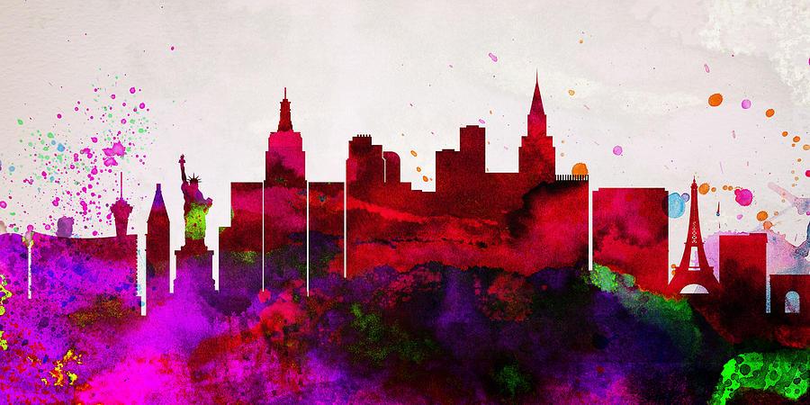 Las Vegas Painting -  Las Vegas City Skyline by Naxart Studio