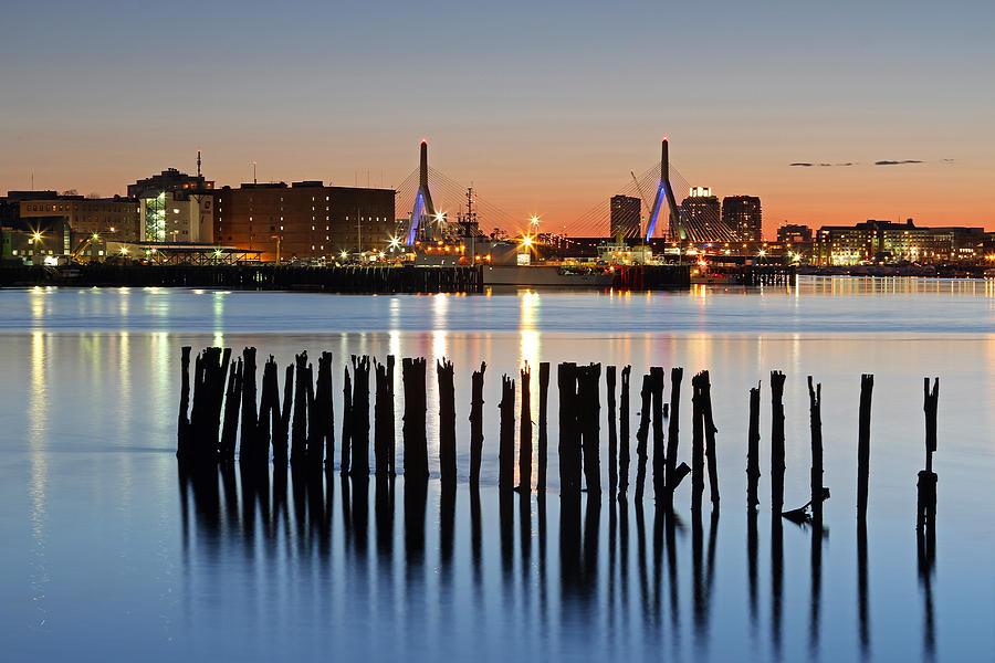 Boston Photograph -  Leonard P. Zakim Bunker Hill Memorial Bridge And Boston Harbor by Juergen Roth