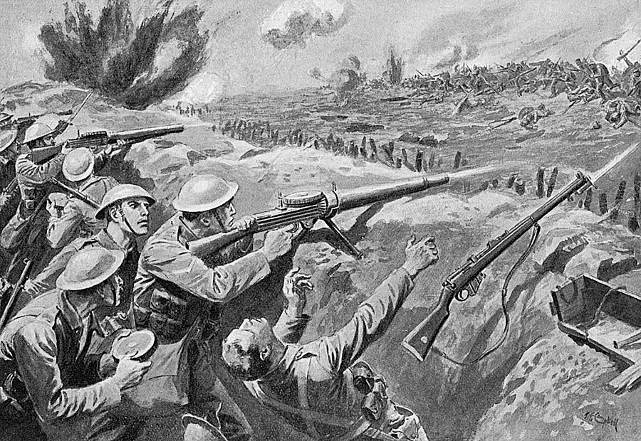 Lewis Gun In The British Trenches