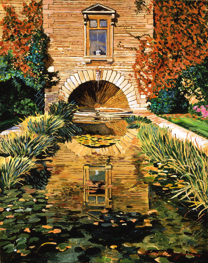 Landscape Painting -  Lily Pond And Fountain by David Lloyd Glover