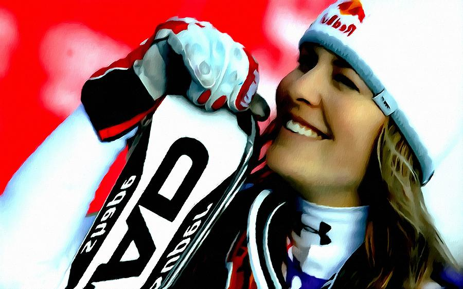 Snowboarder Painting -  Lindsey Vonn Skiing by Lanjee Chee