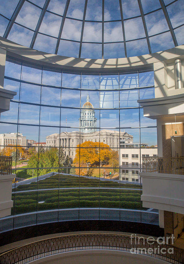 2014 Photograph -  Looking Out Towards the Colorado State Capitol in Autumn by Bridget Calip
