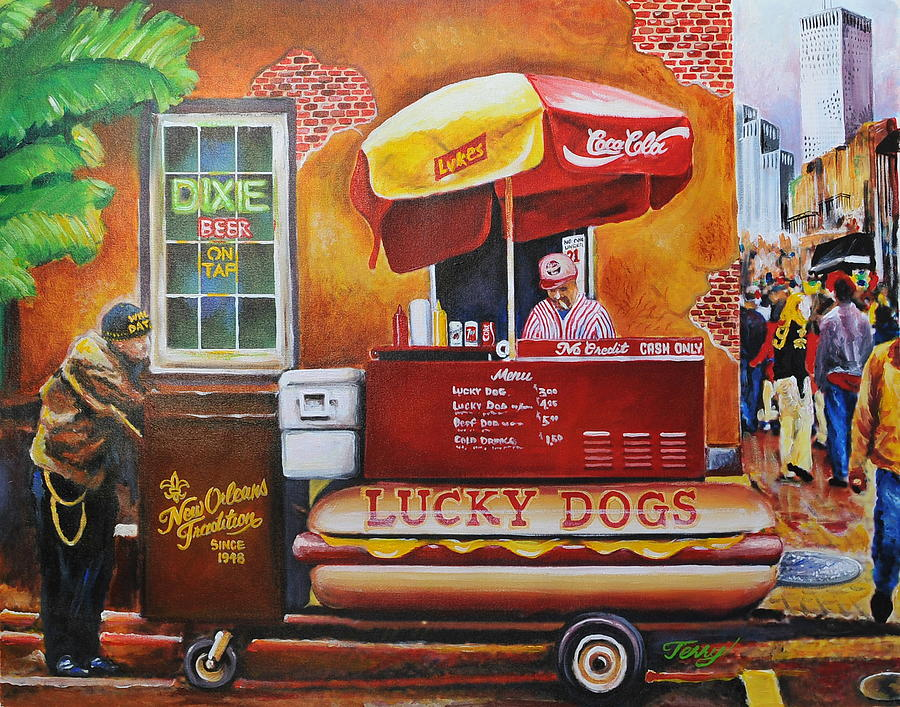 French Quarter Painting -  Lucky Dog Man In The Quarter by Terry J Marks Sr