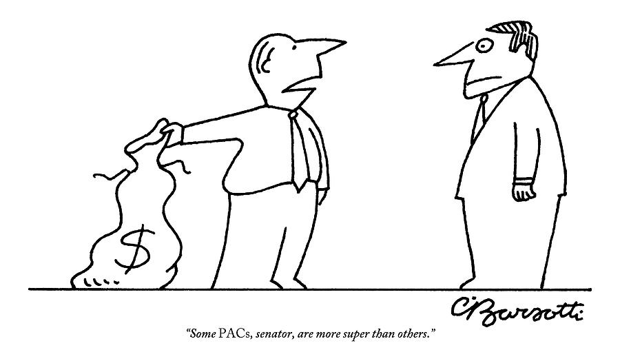 Man, Holding A Bag Of Money, Speaks To Another Drawing by Charles Barsotti