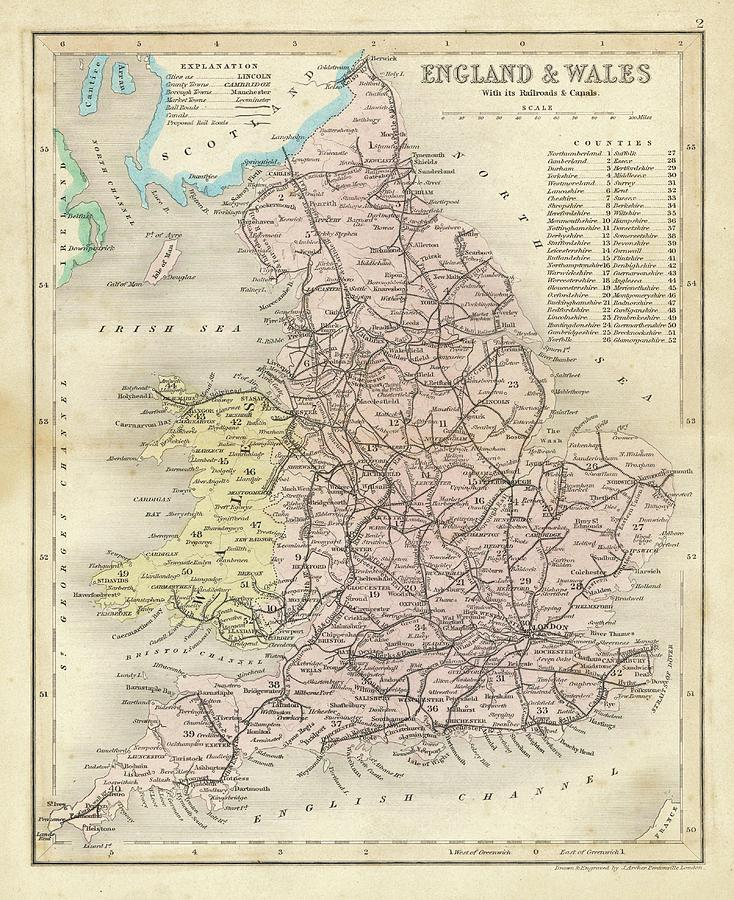 Map Of England Drawing.Map Of England And Wales Showing By Mary Evans Picture Library