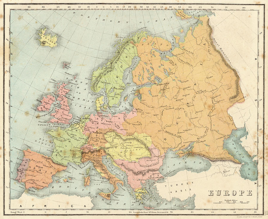Map Of Europe 1840.Map Of Europe Date Circa 1840 Drawing By Mary Evans Picture Library
