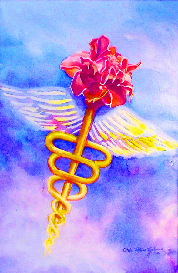 Watercolor Painting -  Medical Angel  by Estela Robles