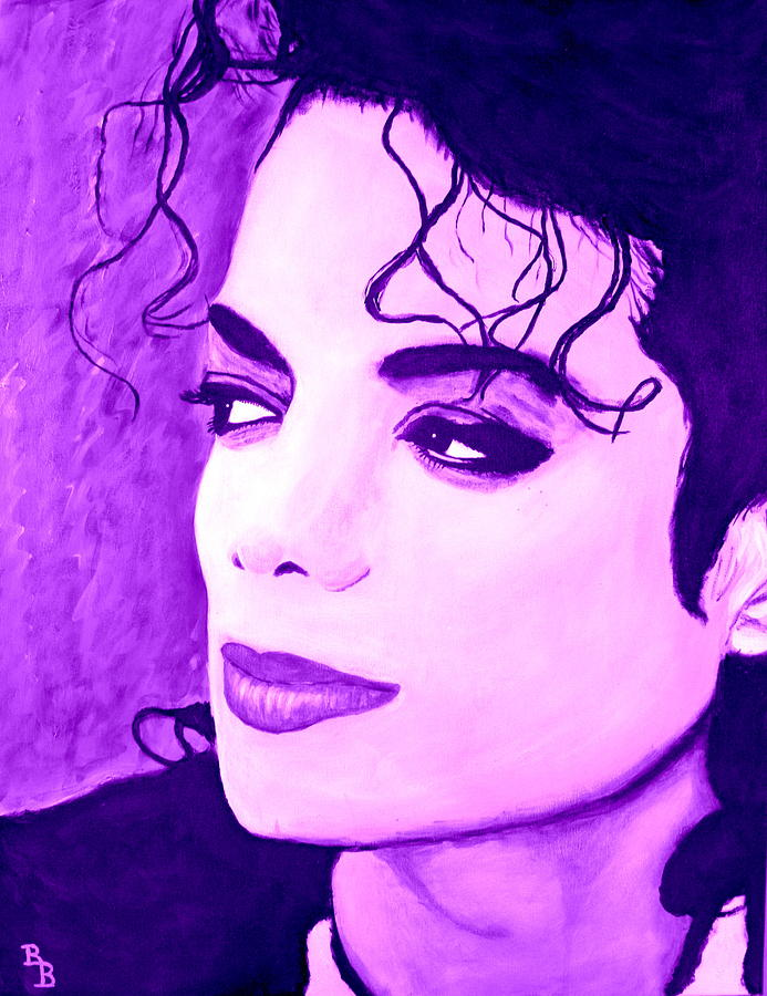 Michael Jackson Painting -  Michael Jackson In Purple by Bob Baker