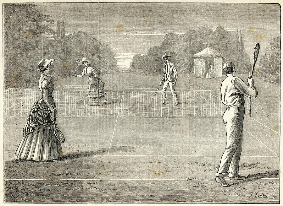 Mixed Drawing -  Mixed Doubles On The Lawn by Mary Evans Picture Library