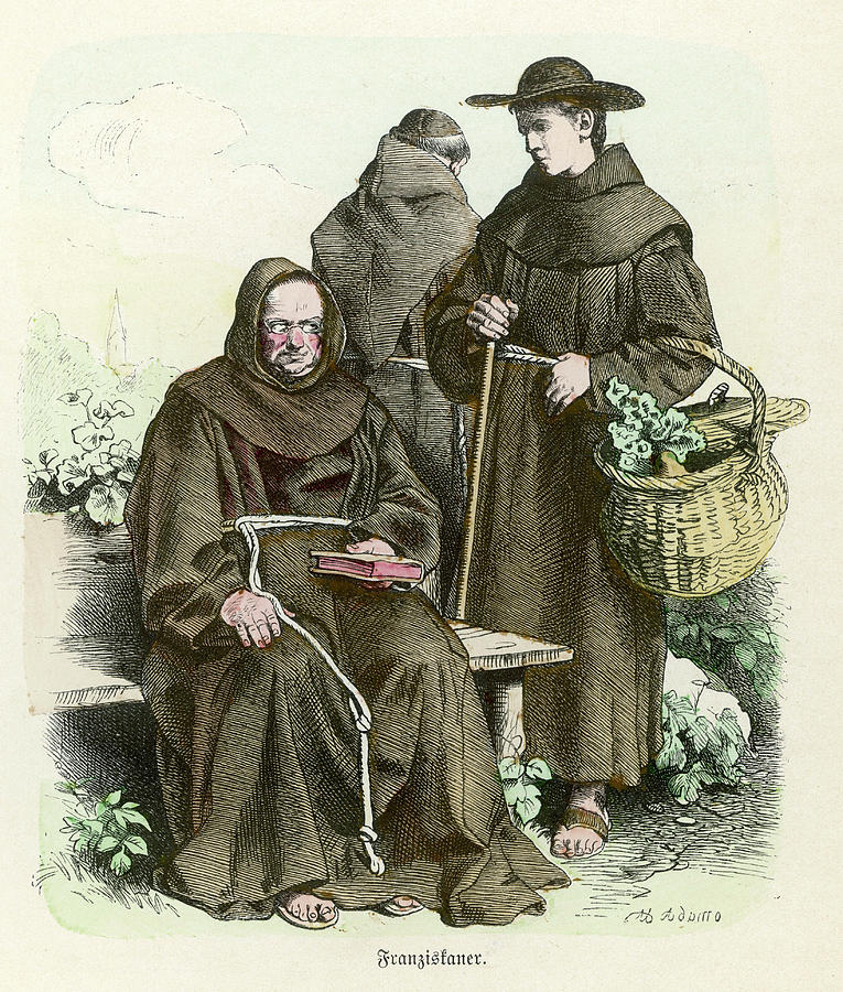 Franciscan Drawing -  Monks Of The Order Of  Saint Francis by Mary Evans Picture Library