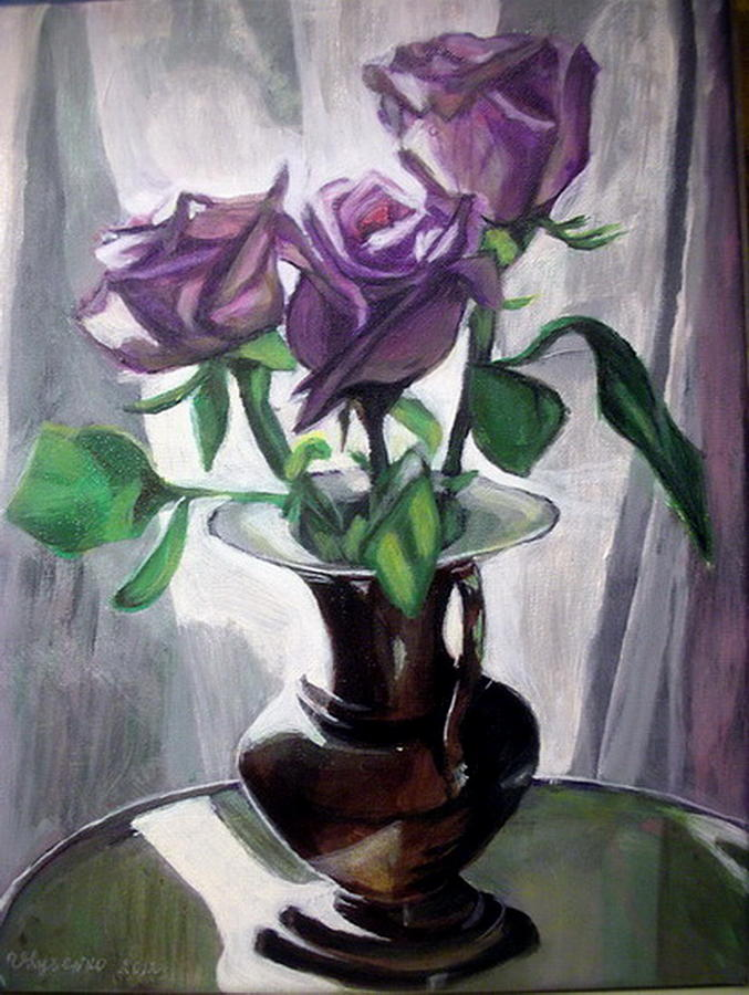 Rose Painting -  Morning Roses by Vera Lysenko