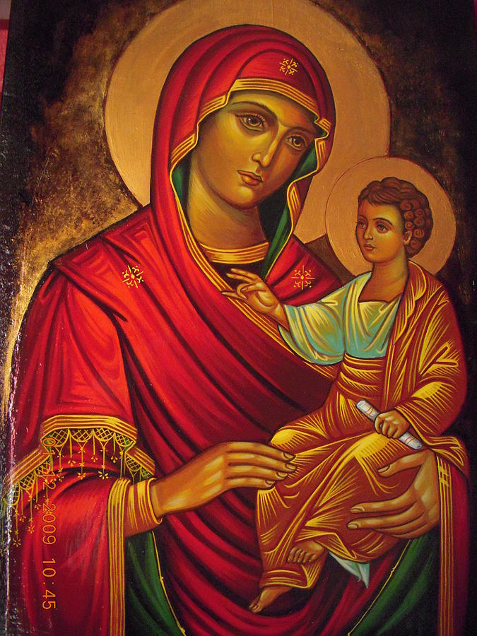 mother mary with baby jesus painting by nadina