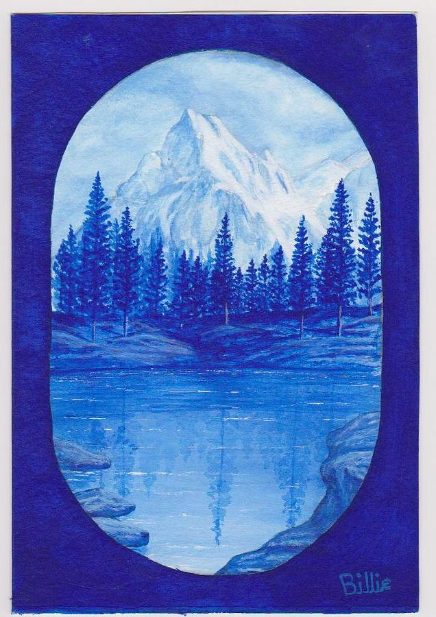Looks Like Just Before Dark Painting -   Mountain And Lake In Blue by Billie Bowles