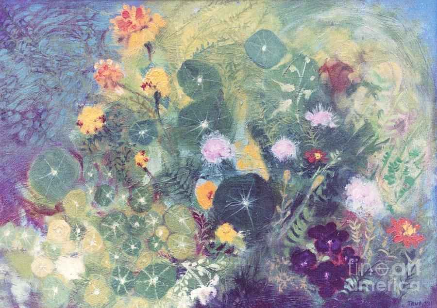 Flower Landscape Painting -   Nasturtiums And Marigolds by Trudy Brodkin Storace