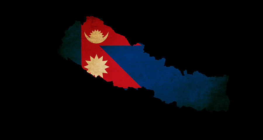 Nepal Outline Map With Grunge Flag Photograph by Matthew Gibson