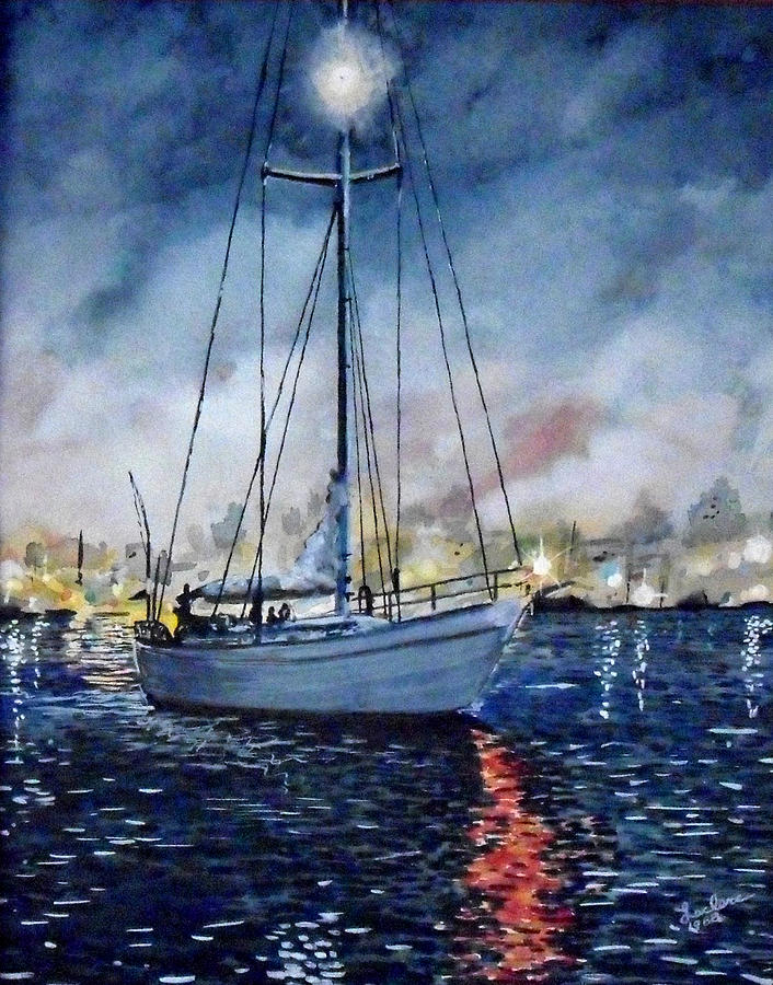 Sail Boat Painting -  Newport Beach Harbor 4th Of July by John Leclerc