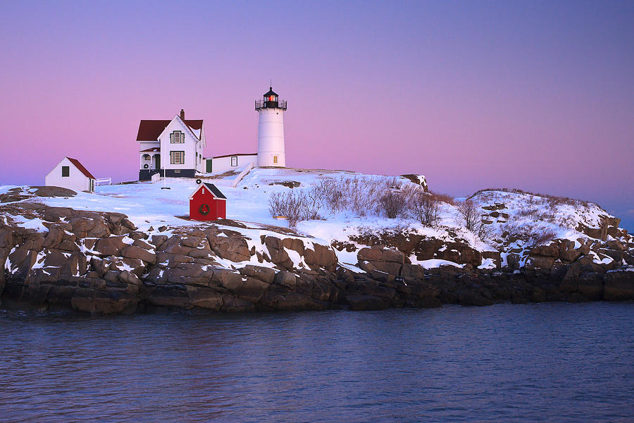 Atlantic Ocean Photograph -  Nubble Light Under A Pastel Winter Sky by Jeff Sinon