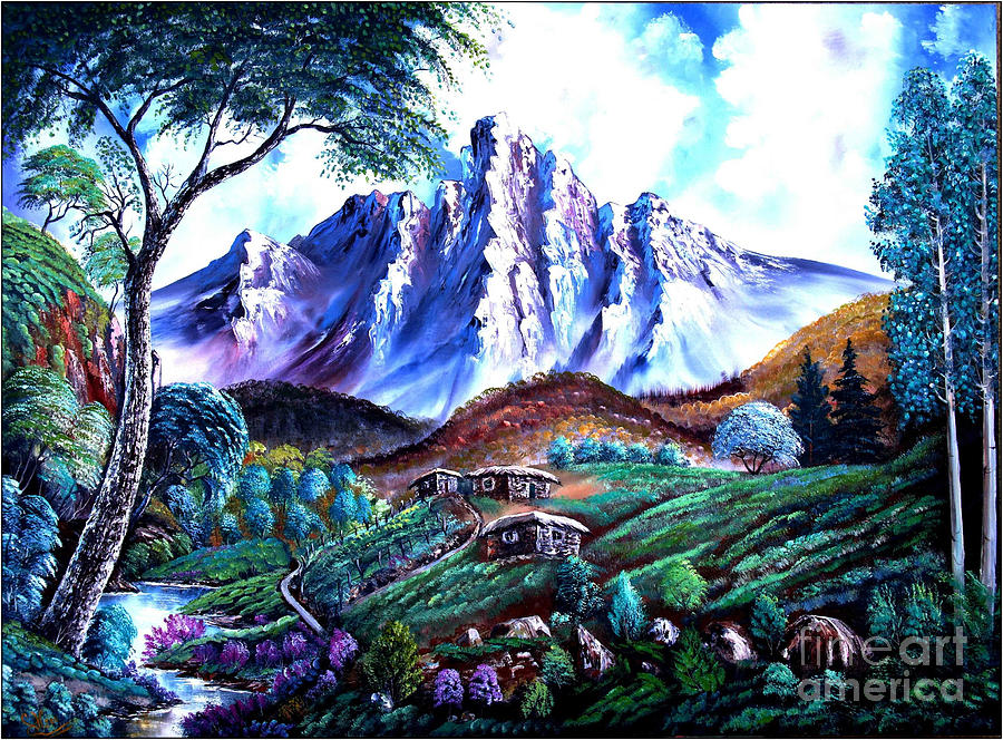 Wet On Wet Oil Painting ;happy Trees Print;bob Ross ;original Oil Painting Print;snow Print;nature Landscape Print;mountain Print;village Print;snow Print;sky Print;canvas Print;acrylic Print;greeting Card Print;framed Print;blue;white;brown;clay; Mud..... � Painting -  Old Village by Shirwan Ahmed