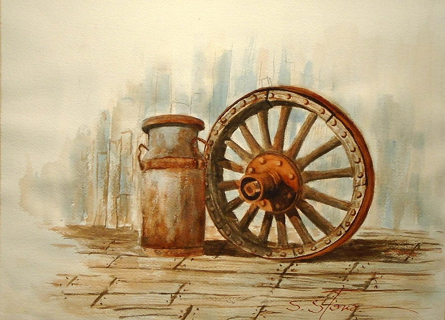 Old Wagon Wheel by Sandra Stone